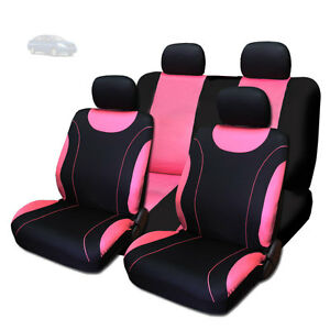 new sleek black and pink flat cloth seat covers set for nissan ebay. Black Bedroom Furniture Sets. Home Design Ideas