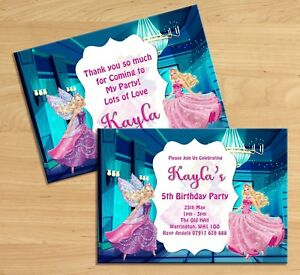 Image Is Loading PERSONALISED BARBIE DOLL BIRTHDAY PARTY INVITATIONS KIDS GIRLS