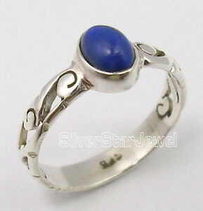 925-Sterling-Silver-Beautiful-CABOCHON-Lapis-Lazuli-TIBETAN-CELTIC-Ring-Any-Size