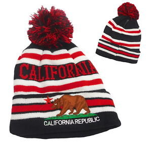 California Republic Bear Beanie hat Cuffed Knit Winter Skull cap Black//Orange