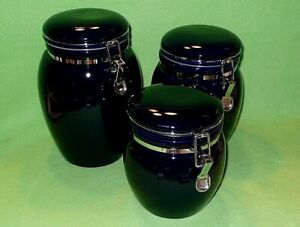 Set Of 3 Cobalt Blue Urn Shaped Kitchen Canisters With Bale Wire Closures Ebay