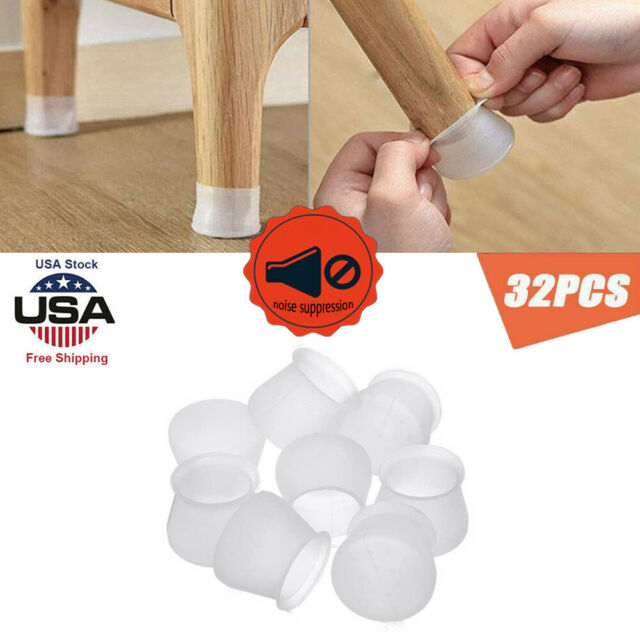 32PCS Silicone Chair Leg Cap Feet Cover Pads Furniture Table Floor Protectors