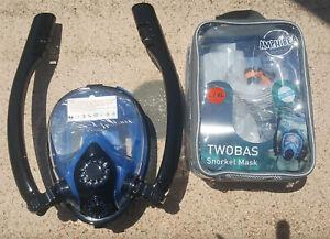 Maschera-Twobas-Full-Face-Snorkel-Size-L-XL-doppio-tubo-snorkeling-visione