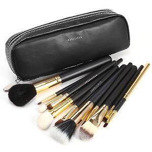 12tlg pinselset echthaare pinsel golden makeup set mit. Black Bedroom Furniture Sets. Home Design Ideas