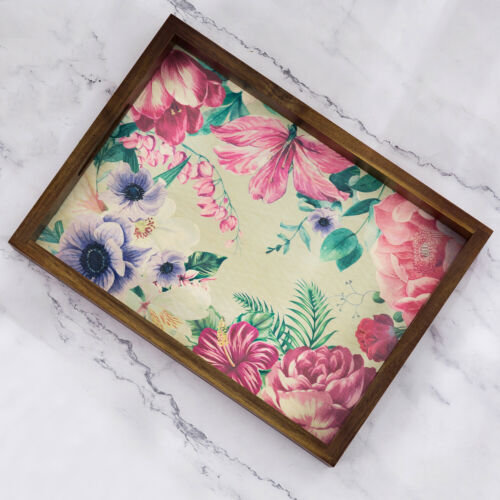 MyGift 16 inch Acacia Wood Serving Tray with Vintage Floral Botanical Print