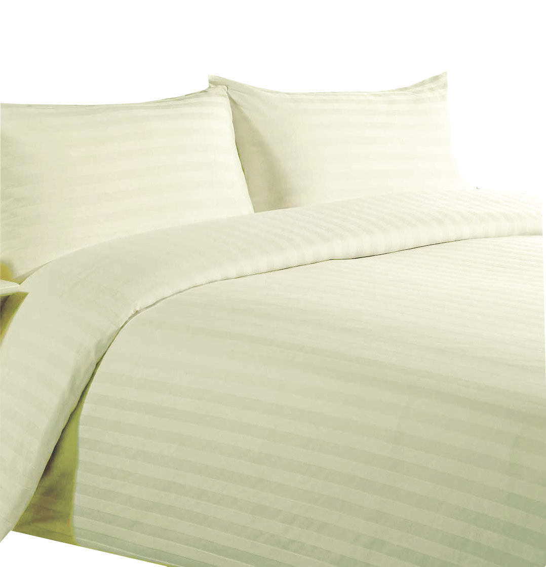 SATEEN STRIPE CREAM IVORY DUVET COVER SETS 100% EGYPTIAN COTTON 300 THREAD COUNT