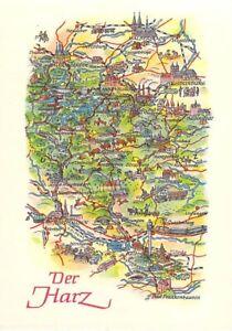 Ak Harz Wernigerode Kelbra Blankenburg Ddr Map Landkarte Nr 8066