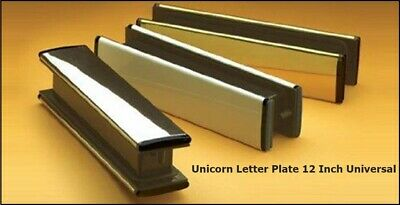 "12/"" SILVER UPVC DOOR LETTER BOX LETTER PLATE WITH BRUSHES D2"