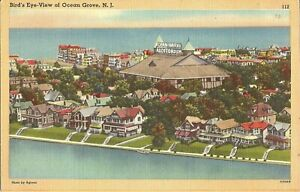 Ocean-Grove-NEW-JERSEY-Birdseye-Auditorium-Atlantic-Ocean-Wesley-Lake-LINEN