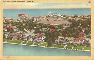 Ocean-Grove-NEW-JERSEY-Birdseye-Auditorium-Atlantic-Ocean-Wesley-Lake-LINEN
