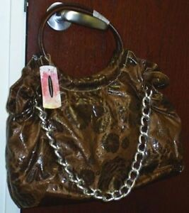 Image Is Loading Nwt Chinese Laundry Brown Large Fl Chain Tote