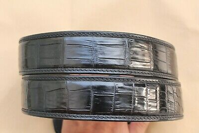 Without Jointed W 1.5/'/' Dark Brown Genuine CROCODILE Leather Skin Men/'s Belt