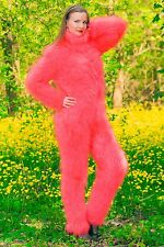 Neon red hand knitted mohair sweater bodysuit fuzzy catsuit by SUPERTANYA SALE