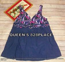 Inches Off Womens Purple Print Swimsuit Swim dress One piece Plus Size 20W 2X