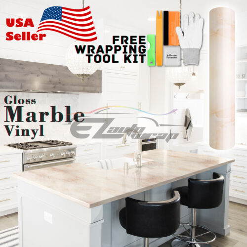 *Premium Marble Granite Look Vinyl Wrap Sticker Contact Paper Home Kitchen #07