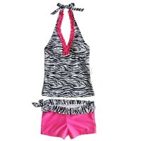 Girl Kids Halter Tankini Set Swimwear Bikini Swimsuit Costume Swim Bathing Suit