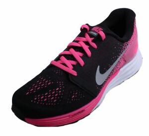 Nike-Lunarglide-7-Youth-Girl-039-s-Black-Metallic-Silver-White-Pink-Running-Sneakers