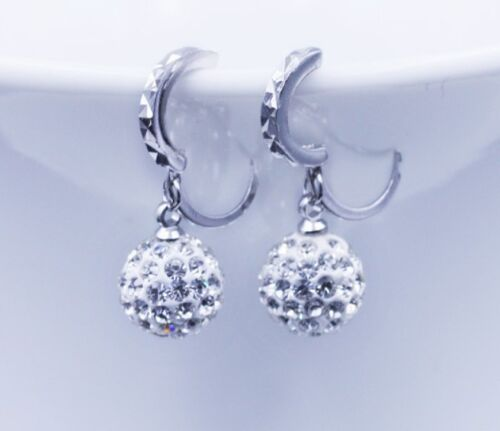 Rhodium Plated 12mm Sterling Silver Disco Ball Crystal CZ Hoop Stud Earrings A15