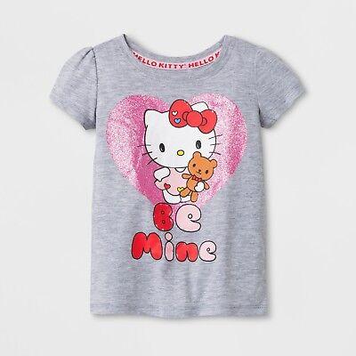 Hello Kitty Girls Valentines TShirt Sparkle Heart Be Mine 12M 18M 2T Toddler