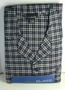 BILL BLASS Cotton Flannel PJs PAJAMAS Set Blue Cream Plaid Mens size XL NWT  NEW