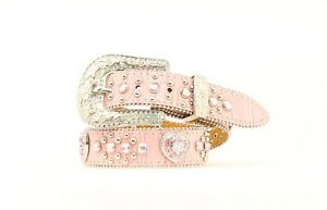 PINK-LEATHER-Crystal-HEART-Conchos-Girl-039-s-WESTERN-BELT-Cowkid-N44252-17