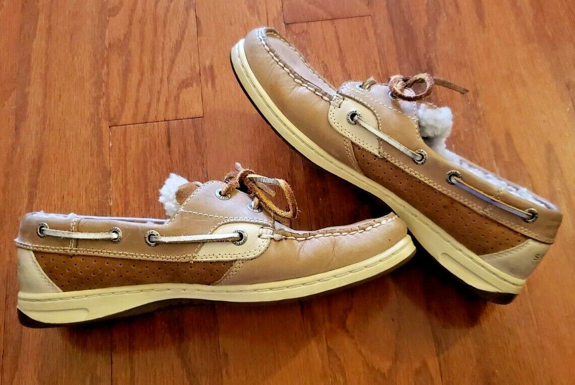 SPERRY TOP SIDER LEATHER INSULATED BOAT SHOES (9173824) BROWN   TAN – SIZE 7.5M