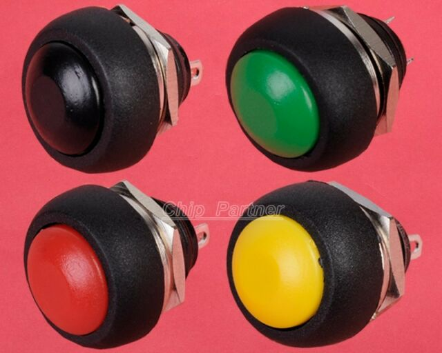 4pcs Black Red Green Yellow 12mm Round Waterproof Momentary Push button Switch
