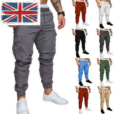 UK Men/'s Slim Fit Urban Straight Leg Trousers Casual Pencil Denim Cargo Pants