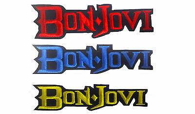 BON JOVI  Blue   Embroidered Iron On Sew On patch Rock Band