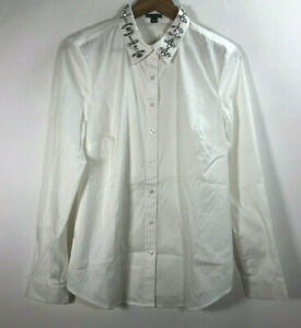 Ann-Taylor-Loft-Women-s-Size-12-Ivory-Long-Sleeve-Embellished-Front-Button-Shirt