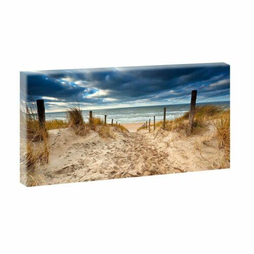 Strand Bild Meer Dünen Nordsee Leinwand  Poster Wandbild 200 cm*80 cm 626