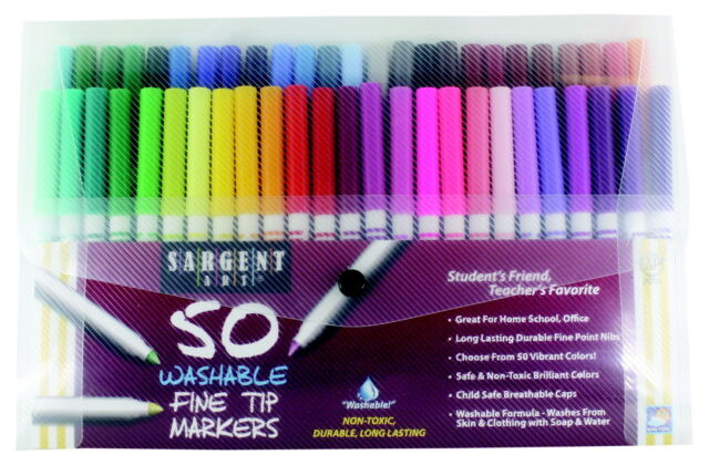 Sargent Art Washable Markers, Fine Tip, Assorted Color, Pack of 50