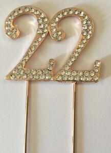 Strange Rose Gold 22Nd Birthday Diamante Cake Topper Decoration Twenty Two Funny Birthday Cards Online Aboleapandamsfinfo