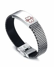 Item 1 Vincenza Stainless Steel Medical Alert Id Chunky Bracelet For Men Women Uni