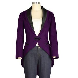 Chic Star Women's Tuxedo Jacket With Tails Purple Costume Punk Lined Retro Gothi