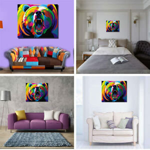 Peinture Huile Tableau Abstraite Art Moderne Ours Coloré Mural ...