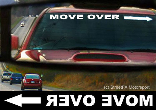 MOVE OVER! White reversed front windscreen window sticker decal with arrow 800mm