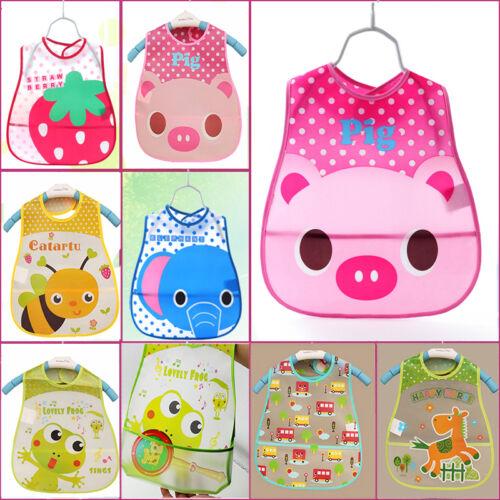 Baby Feeding Cloth Waterproof Bib Kid Infant Folding Pocket Bibs Cute Safe