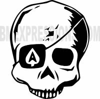 Ace Eye Patch Skull Vinyl Decal Your Color Choice Sticker