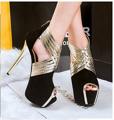 Sexy Hollow Out Gladiator Peep Toe Platform Stiletto High Heels Pump Women Shoes