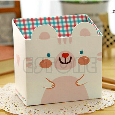 DIY Paper Stationary Makeup Cosmetic Desk Organizer Storage Box Cute Cartoon Cat