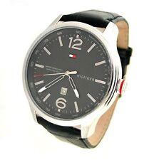 NIB Tommy Hilfiger Gray Dial Black Leather Mens Watch 1710314