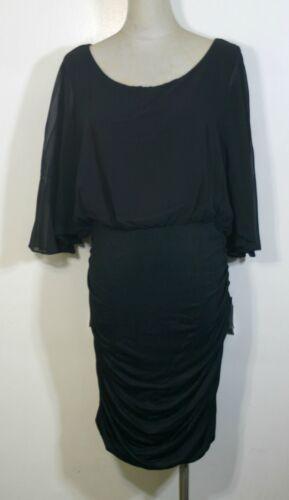 Plus size blouson dress,chiffon top,black,knee length,made in USA,junoir size