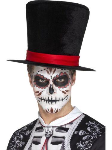 Day of the Dead Top Hat Black Adult Mens Halloween Fancy Dress