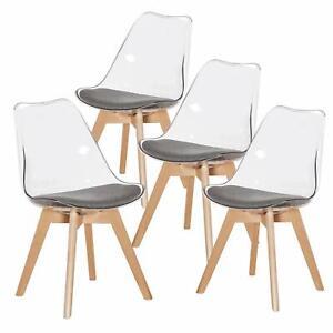 4-x-Office-Esszimmerstuhl-Transparent-Klar-Sessel-Kunststoff-massivem-Buchenbein