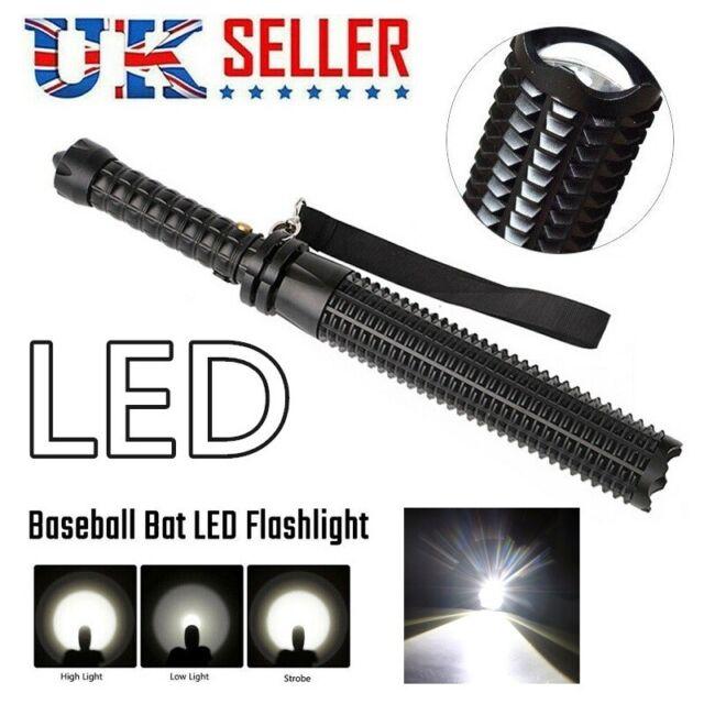 Black Baseball Bat LED Flashlight battery Waterproof Security Super Bright Torch