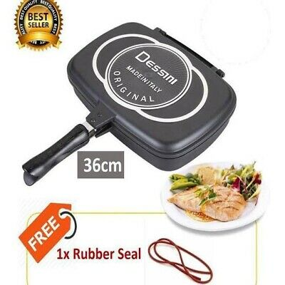 Dessini Double Grill Pan Double Sided Frying Pan Flipping Griddle Diecast 36cm Ebay