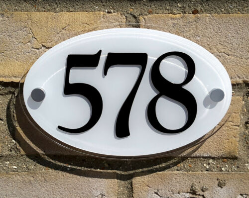 White Oval House Number Plaque Acrylic Plastic Black Numeral