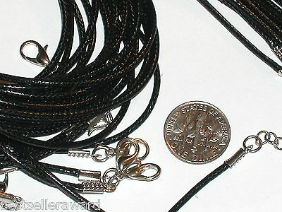 """5 Pc. Black Leather Pendant charm Necklaces Lot smooth soft style 16"""" New"""