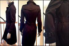 BURBERRY LODON Navy Double Twill Trench Coat W/Belt Lambskin Trim Sz XS 2 $1795